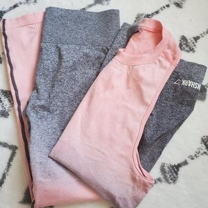 Gymshark ombre grey and peach set